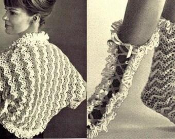 Ripple Jacket Shrug and Bed Socks Crochet Pattern 723065