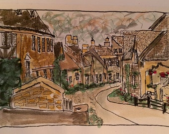 English Countryside Pen and Watercolor sketch OOAK signed and dated in back