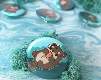 Kawaii Otter Nugget Pinback Button or Magnet