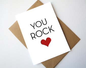 You Rock Card Love Card Mothers Day Card Fathers Day Card Happy Mothers Day Happy Fathers Day Red Heart