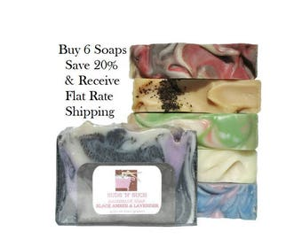 Soap Assortment Variety Pack - Full Sized Bars - Try 6 - Birthday Gift For Her - Discount Soap Deal - Mothers Day Gift - Save on Shipping