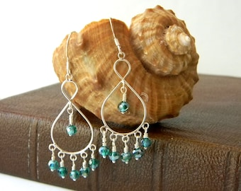 Sterling Silver Chandelier Earrings with Teal Green Beads