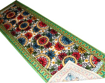 Indian wall decoration Kashmir's hand work woolen embroidery tapestry wall hanging table runner exotic