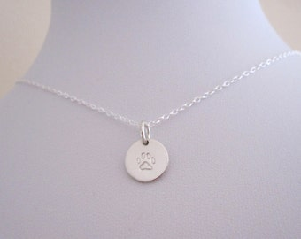 Small cat dog PAW PRINT stamped round charm sterling silver necklace