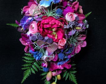 Jewel Toned Cascading Bridal Bouquet with Orchids, Peonies, Roses, and Ferns