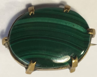 Vintage Malachite Brooch C Clasp Extended Pin