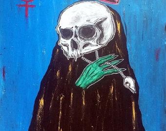 Mercury's sister act - 30x40 - gothic art - dark art - acrylic painting - creepy art