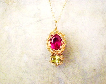 Crochet pendant necklace, Peridot and Ruby Cubic Zirconia crochet pendant necklace, 14k gold filled