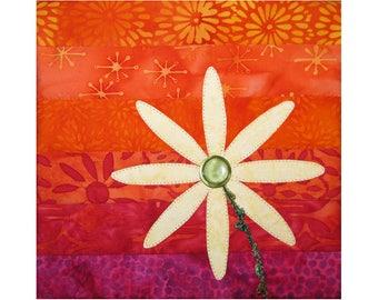 Small Art Quilt, Floral Wall Hanging, Daisy Flower Fiber Art
