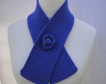 button-through scarf, blue knit muffler, wool mix scarf, blue black or beige scarf, short rib scarf, rib knit neckwarmer, black scarflette