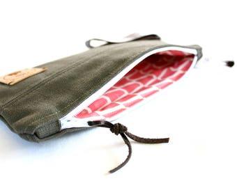 Khaki canvas bag, handmade, by NADSAK, - ready to ship-