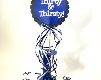 30th Birthday Decorations Centerpiece Sign with Spool Display Stand