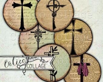 Printable, Digital, Crosses, Bottlecap Images, Decoupage Paper, Bible Ephemera, Instant Download, Digital, Collage Sheet, Vintage Crosses