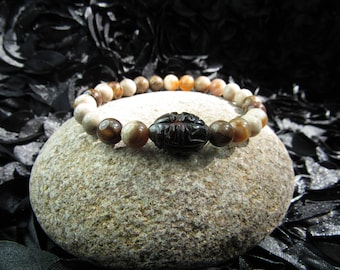 Wood Opal and Tourmaline Bracelet, Elastic Bracelet, 8 1/2inches- Real Stone- Semi Precious- Healing Crystals- Natural Beads