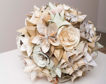Paper Flower Bridal Set, Paper Flower Bouquet, Origami Bouquet, Harry  Potter, Neutral