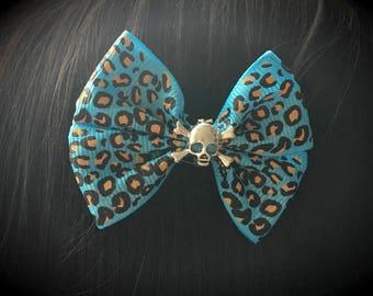 Blue leopard print hair bows