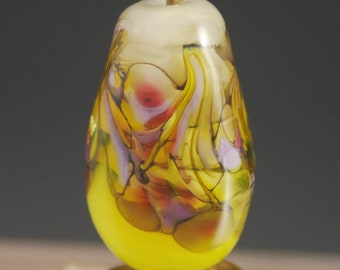 Yellow, Pink, Sunny,  Lampwork Focal Bead, Tammie Mabe, Artisan, Pendant, Handmade Glass Bead, Made in Texas, SRA, Jewelry Making, Tabular
