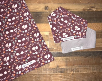 Maroon Woodland Squirrel & Hedgehog  Blanket and Bib Gift Set