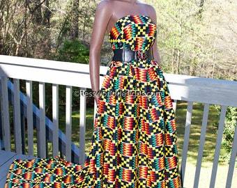 Wholesale African fabric, 6 yards/ Wedding Kente print/ red/teal/ Kente / Kente Cloth/ Prom dress fabric/ African Fabric / KF310