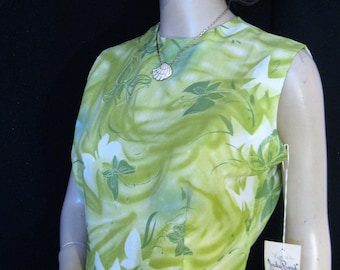 Vintage 1960s Judy Bond Green Butterfly Print Crepe-textured Dacron Top, NOS NWT, Small, Size 8