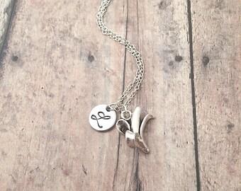 Banana initial necklace - banana jewelry, fruit necklace, food necklace, fruit jewelry, silver banana pendant, tropical fruit necklace