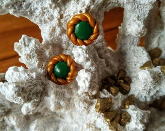Embellished Green Stud Earrings