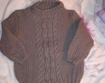 Irish sweater taupe knitted with wool size 2 years