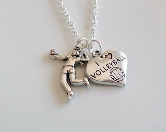 Volleyball Necklace, Volleyball player necklace, I love volleyball necklace, Gifts for volleyball team, Sports gifts, Volleyball Mom