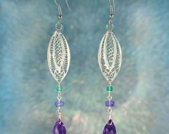 Tanzanite & Amethyst Beaded 925 Silver Earrings SE233