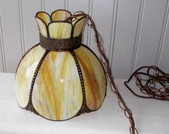 Vintage Swag Lamp, Brass, Yellows & Cream