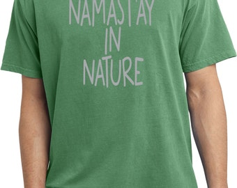Yoga Clothing For You Mens Shirt Namastay in Nature Pigment Dyed Tee T-Shirt = PC099-NAMNATURE