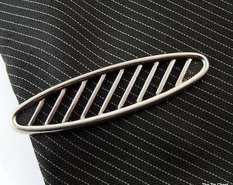 "Vintage Tie Clip Silver Tone Oval Stripes 2"""