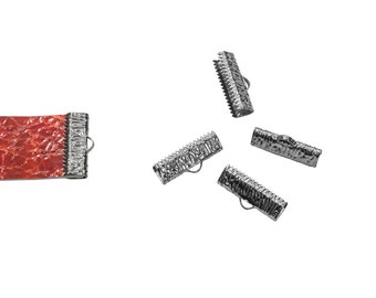16 pieces  20mm  (3/4 inch)  Gunmetal Ribbon Clamp End Crimps - Artisan Series