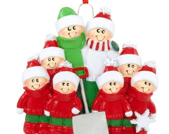 Snow Shovel Family of 8 Personalized Christmas Tree Ornament