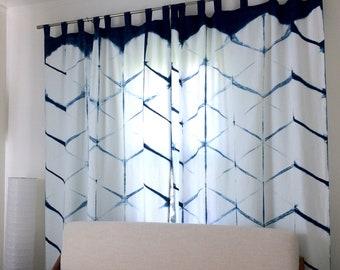 Tie Dye Curtains,Shibori Curtains,Blue and white curtains,Set of 2 Linen curtains,Boho curtains,indigo curtains