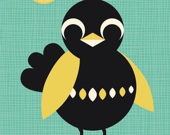 Poster Blackbird - Sunbathing blackbird print - blackbird designs - blackbird poster - poster babyroom - poster bedroom - babyroom decor