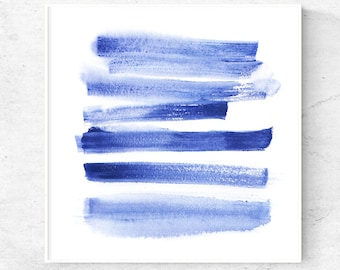 Brush stroke Navy blue abstract art watercolor print square printable wall art abstract art download, 5x5 print, 8x8 print, 12x12 print