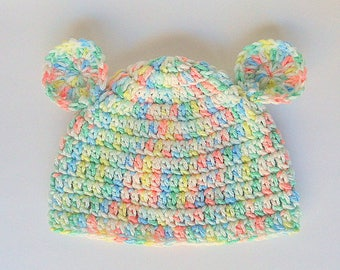 Baby Hat  With Ears 3 6 9 12 18 24 Months Infant Girl Pastel Rainbow Cap 2 Year Old Boy  Fall Beanie Ready To Ship Shower Gift