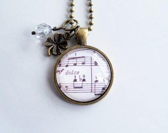 Music Necklace - Londonderry Air Pendant - Irish Air Jewelry - Sheet Music Jewelry - Custom Necklace - Music Lover Gift - Music Note Dolce