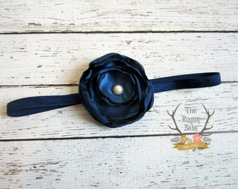 Navy Blue Satin Flower Headband with Antique Pearl -   Baby Infant Toddlers Flower Girl Women