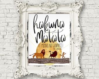 Hakuna Matata, The Lion King, Nursery Print, Nursery Wall Art, Nursery Wall Decor, Instant Download, Gift, Girls Room, Boys Room