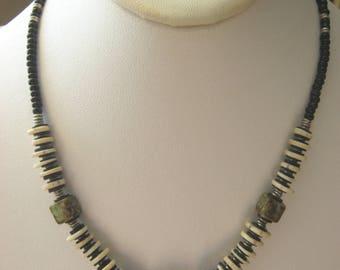 Vintage handmade beaded choker/necklace, dark blue stones, black beads, hand strung