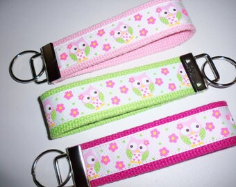 Sweet Pink Lime Green Owls Key fob  / Key chain / Luggage tag