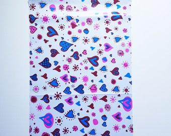 100 10X13 inch Scattered Heart Design Color Poly Mailer Self Seal Flat Shipping Envelope Bag