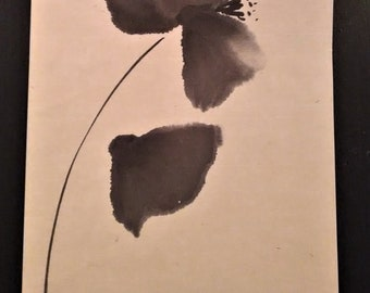 Painting poppy flower India ink on rice paper