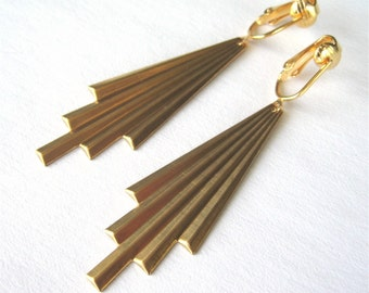 Art Deco Clip On Earrings, Gold Ear Clips, Brass Comet Tails, Folded Metal Clipons, Long Dangle Earrings, Metallic