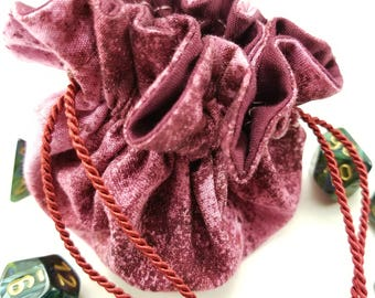 Drawstring Bag, Gift Bag, Dice Bag, Gift Pouch, Dungeons and Dragons, D&D, Maroon, Abstract - Small Size