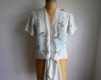 Designer Vintage hand painted Blouse and Sash Set by Dory Coffee