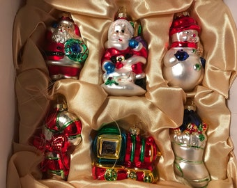 Glass Christmas Ornaments Set of Twelve