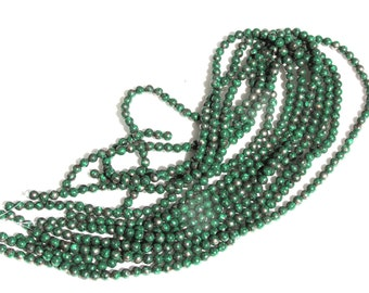 "15"" Strand of Semi-Precious Malachite Round Beads for Jewelry Making"